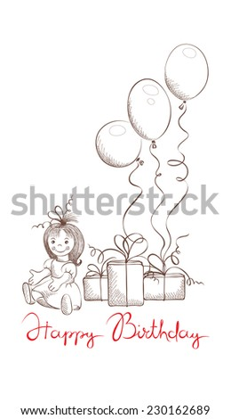 Gifts for little girl - stock vector