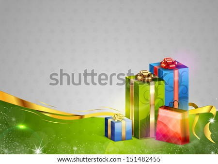 gifts on the green and grey christmas background