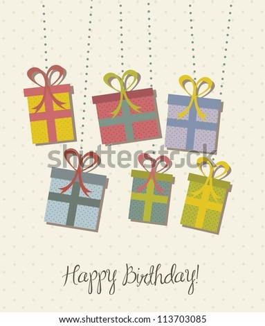 gifts over beige background, vintage style. vector illustration