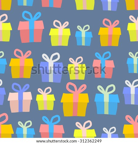 Gifts seamless pattern. Vector background of colored boxes with gifts. Ornament for a greeting card and Christmas.
