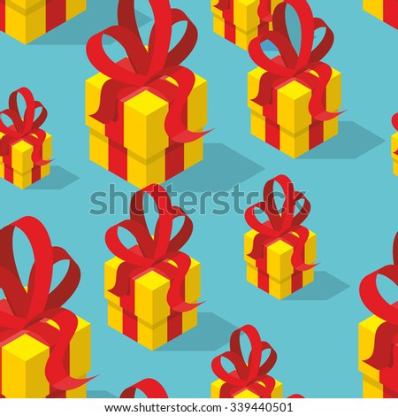Gifts seamless pattern. Yellow gift box and bow. Festive background for birthday and Christmas. Gift Isomerism projection. Texture for baby tissue. - stock vector