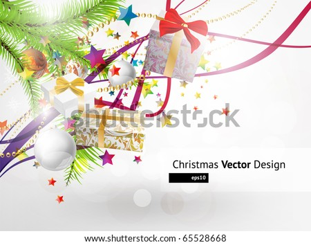 gifts with fly stars vector background - stock vector