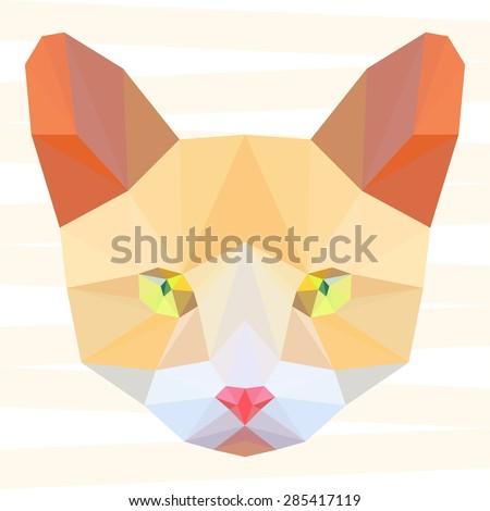 Ginger cat. Cat. Abstract cat.Polygonal cat. Geometric cat. Triangle cat. Abstract cat portrait. Cat. Graphic cat. Cat gaze. Cat close up. Isolated cat. Cat. Cat icon. Cat portrait. Cat. Cat icon. - stock vector