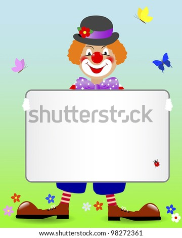 Ginger clown with a blank banner and butterflies. Vector illustration.