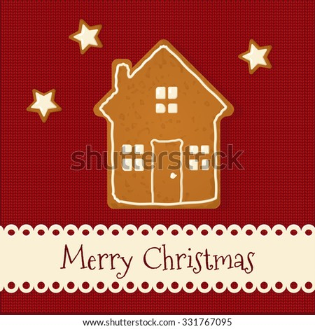 Gingerbread cookie on knit textile background. Merry Christmas Greeting Card. Vector Illustration - stock vector