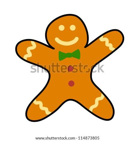 Gingerbread cookies Hand writing cartoon. - stock vector