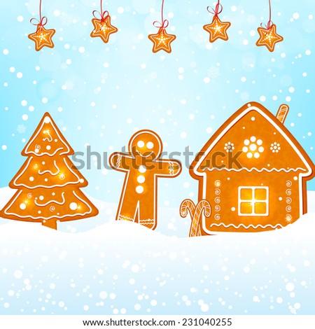 gingerbread cookies on snow - stock vector