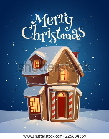 Gingerbread house. Christmas card \ poster \ banner. Vector illustration. - stock vector