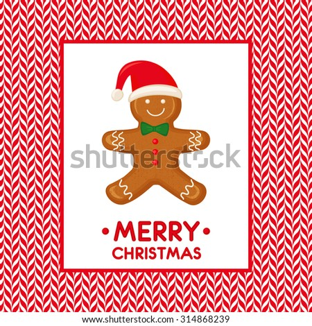 Gingerbread man decorated in colored icing. Merry Christmas card illustration with Gingerbread man on candy canes vector background. - stock vector