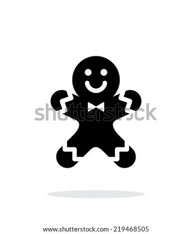 Gingerbread man icon on white background. Vector illustration. - stock vector