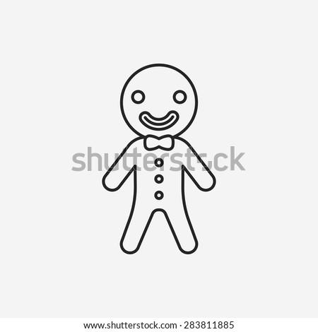 gingerbread man line icon - stock vector