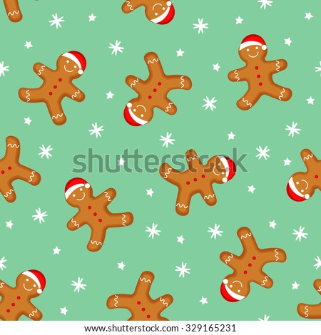 Gingerbread man seamless pattern. Cute vector background for new year's day, Christmas, winter holiday, cooking, new year's eve, food, etc. Cute Xmas background. - stock vector