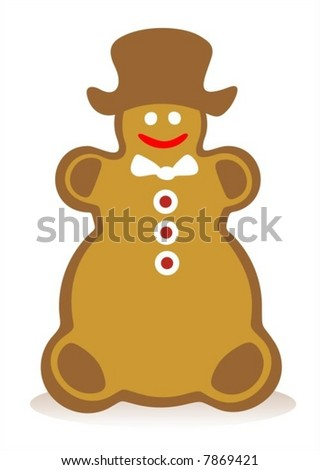 Gingerbread snowball and his shadow on a white background.