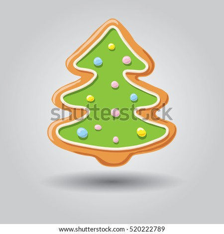 Gingerbread snowman isolated on white grey background, vector illustration.