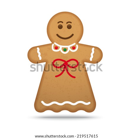 Gingerbread Woman Cookie Vector Illustration
