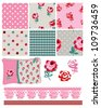 Gingham Floral Vector Seamless Patterns and Icons.  Use for scrap booking, fabric or craft projects. - stock vector
