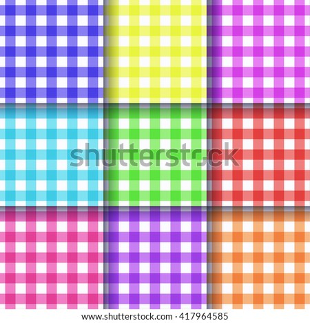 Gingham geometric seamless pattern background, color vector texture backdrop set of textile tablecloths, picnic napkins for home decor, present wrapping paper, scrapbooking