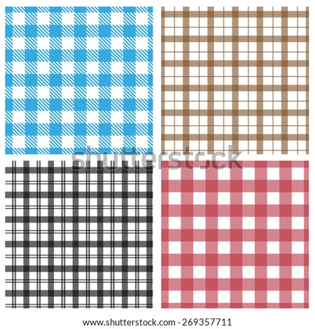 Gingham pattern collection - stock vector