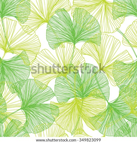 Gingko biloba seamless vector background pattern. Green colors. Hand drawn background on white - stock vector