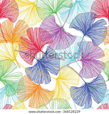 Gingko biloba seamless vector background pattern. Multicolors. Hand drawn background on white - stock vector