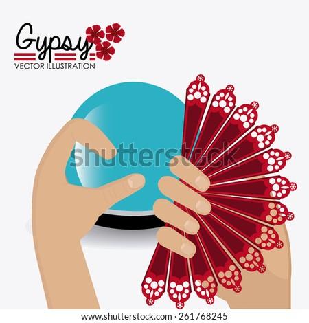 Gipsy design over white background, vector illustration. - stock vector
