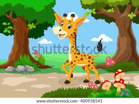 Giraffe against a background of a beautiful garden  - stock vector