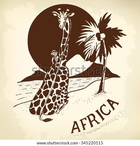Giraffe and a little monkey at sunset. Landscape Africa. - stock vector