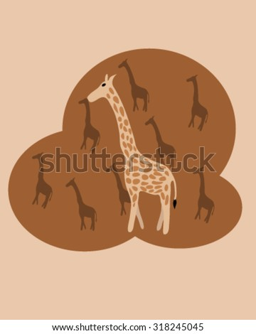 Giraffe and brown background