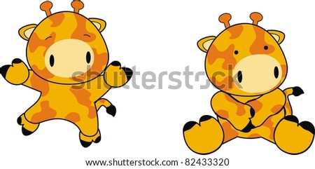 giraffe baby cartoon in vector format