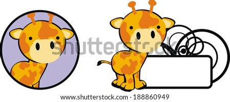 giraffe baby copysapce cartoon in vector format