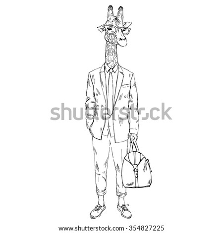 giraffe dressed up in cool urban summer style, hipster animal,  furry art illustration - stock vector