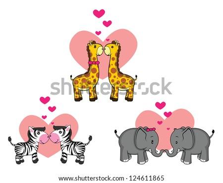 giraffe, elephant, zebra wild animal set romantic couple - stock vector