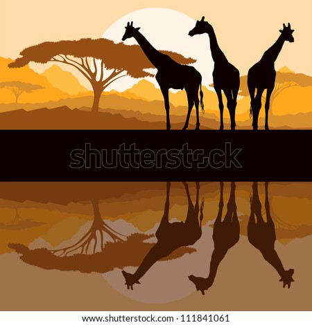 Giraffe family silhouettes in Africa wild nature mountain landscape background illustration vector - stock vector