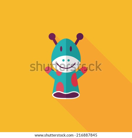 Giraffe hand puppet flat icon with long shadow,eps10 - stock vector