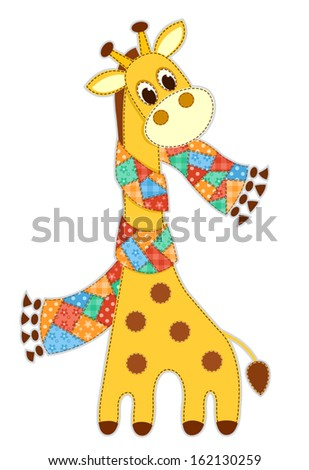 Giraffe in a scarf. Application for children. Vector illustration. Isolated on white. - stock vector