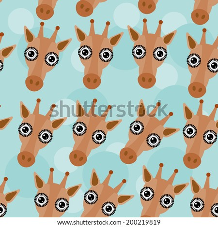 Giraffe Seamless pattern with funny cute animal face on a blue background. Vector - stock vector
