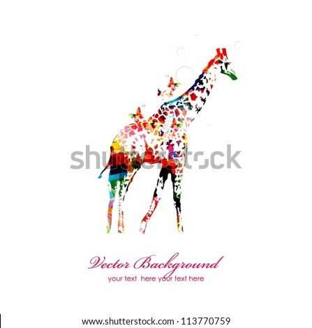 Giraffe silhouette collected from various elements of a flower ornament. - stock vector