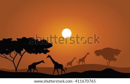 Giraffe silhouette savanna landscape nature sunset sunrise illustration - stock vector