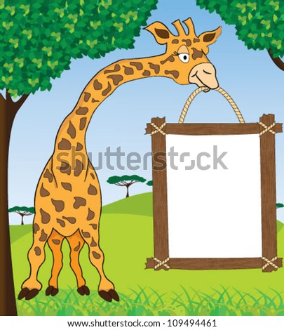 Giraffe with blank advertisement frame - stock vector