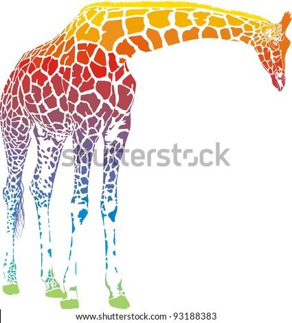 Giraffe with rainbow smokescreen camouflage - stock vector