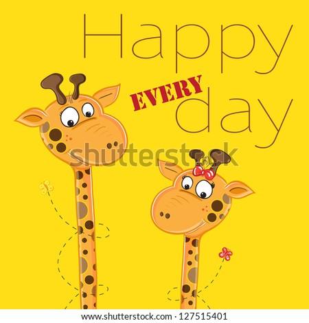 Giraffes with butterflies greeting card - stock vector