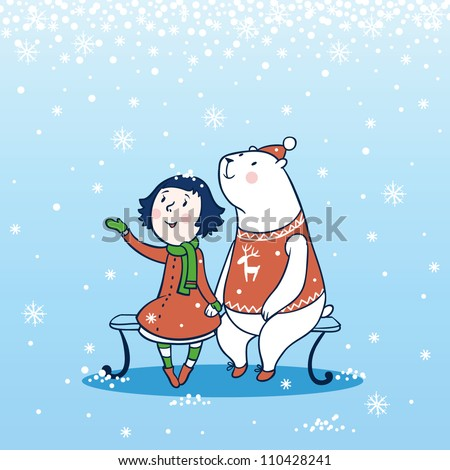 Girl and a bear sitting on a bench in winter. Snow, Christmas, New Year.Children's Christmas card - stock vector