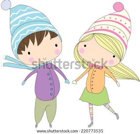 Girl and boy - stock vector