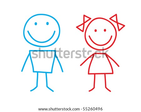 Girl and Boy - stock vector