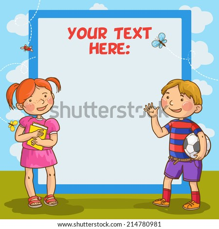 Girl and Boy beside  blank placard. Children Sport isolated objects on green background. Great illustration for a school books and more. VECTOR. Editorial. Education. Advertising. Board. - stock vector