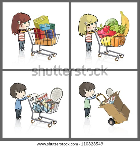 Girl and boy buying many gifts and items in a toy store shop. Vector illustration. - stock vector