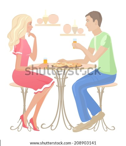 Girl and boy chatting at a cafe. Vector - stock vector