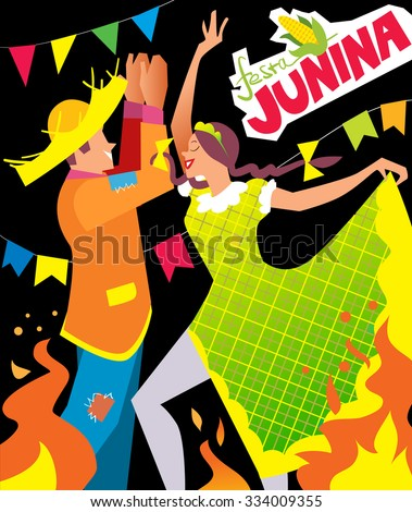 Girl and boy dancing at Brazil june party. - stock vector