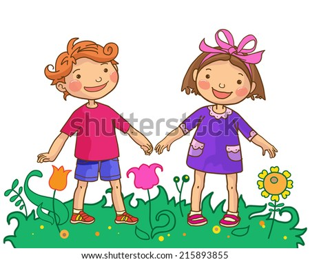 Girl and Boy holding hands. Children Sport isolated objects on White background. Great illustration for a school books and more. VECTOR. Editorial. Education. Advertising. Board. - stock vector