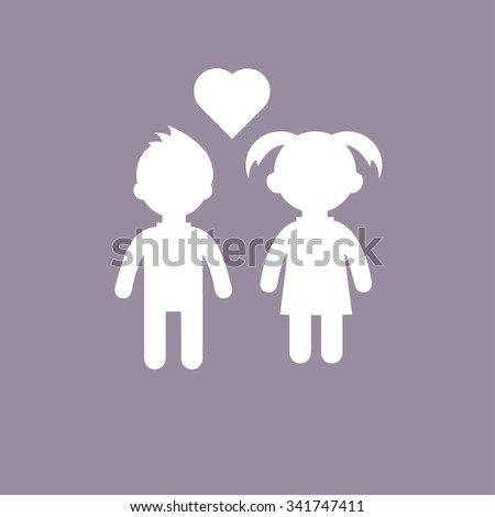 Girl and boy icon on white background - stock vector